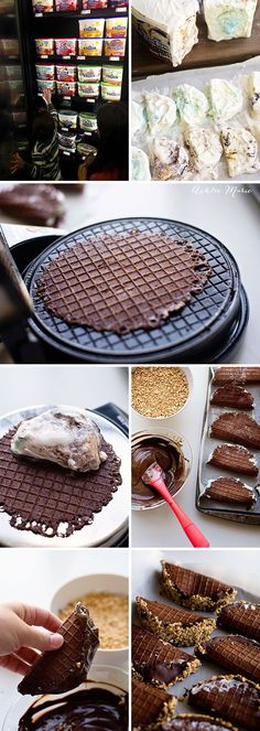 homemade choco tacos (slices of ice cream wrapped in homemade chocolate waffle cones then dipped in chocolate and chopped peanuts Frozen Desserts, Just Desserts, Delicious Desserts, Dessert Recipes, Yummy Food, Homemade Ice Cream, Homemade Chocolate, Tapas, Desert Recipes