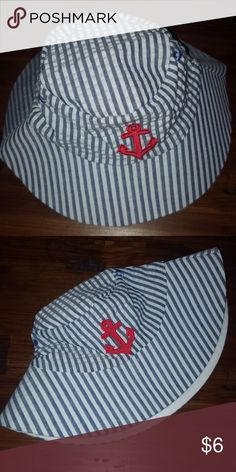 Baby boy anchor striped beach hat Baby boy anchor striped beach hat. Blue and whote stripes with red anchor. Size 0-6 months give or take. Euc worn minimally. Baby Aspen Accessories Hats