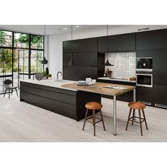 Solid Surface and Laminate Kitchen Black Kitchens, Home Kitchens, Serving Table, Kitchen Dinning, Dining Room Inspiration, Design Inspiration, Scandinavian Home, Scandinavian Kitchen Interiors, Cuisines Design