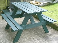 Adult size, pallet picnic table, wooden picnic bench painted in willow colour on Etsy, $140.20