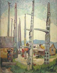 Totem Poles, Kitseukla is a Post-Impressionist Oil on Canvas Painting created by Emily Carr in It lives at the Vancouver Art Gallery in Canada. The image is in the Public Domain, and tagged Totem Poles. Canadian Painters, Canadian Artists, Canadian People, Native Art, Native American Art, Emily Carr Paintings, Art Paintings, Group Of Seven Art, Vancouver Art Gallery