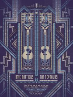 """Amazing work: """"@DKNGstudios: Our #daveandtim poster is now for sale in the DKNG Store. http://www.dkngstudios.com/2015/01/19/dave-matthews-and-tim-reynolds-oakland-poster/… """""""