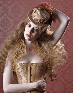 Corset with Renaissance riding bonnet. [Hat Designer: Topsy Turvy Design]