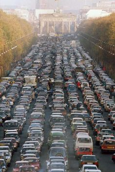 Famous Moments In History, From A Different Angle: 1989 - Traffic jam in Berlin as the border between East and West Germany opens.