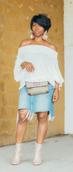 fall outfit idea, denim skirt, off the shoulder top, free people, cream sweater, Gucci Belt bag, sweenee style