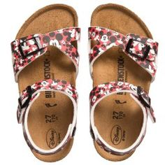 Birkenstock girls stylish, durable and comfortable, open toe, red Mickey Mouse 'Rio' sandals with a synthetic, wipe clean upper. They have a leather insole, black gripped sole and buckles, with adjustable straps that can be made smaller for the perfect fit. German made, these sandals have a unique contoured footbed that promotes good walking posture, making them a great choice for growing feet.
