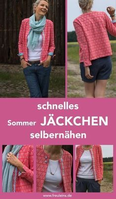 Sewing pattern and sewing instructions for the fast summer jacket Betty # Jäckchen betty Here is a design example of Dani (Prülla) from my sewing team www.de/schnittmuster-jaeckchen-betty Source by Crochet Poncho Patterns, Sewing Patterns Free, Free Sewing, Clothing Patterns, Knitting Patterns, Pattern Sewing, Crochet Jacket, Sewing Projects For Beginners, Knitting For Beginners