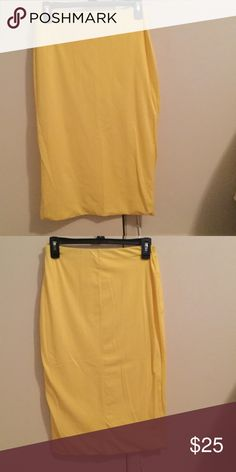 Junee Yellow 92% Cotton Stretch Pencil Skirt Junee Yellow Stretch Pencil Skirt.  92% Cotton 8% Spandex.  New without tags. Never been worn. Fully lined. Lining is as thick as front of skirt. Junes Skirts Midi