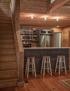 Haw River Retreat - rustic - Kitchen - Raleigh - Bizios Architect Rustic Galley Kitchen, Galley Kitchen Design, Galley Kitchens, Cool Kitchens, Kitchen Designs, Den Ideas, Lake Forest, Cabin Fever, Tiny House
