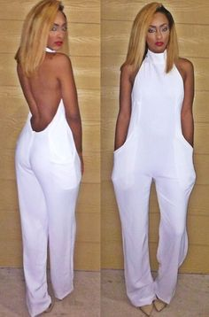 Day or evening wear, beautiful all white jumpsuit All White Jumpsuit, Backless Jumpsuit, Summer Jumpsuit, White Jumper, All White Party Outfits, All White Outfit, White Fashion, Look Fashion, Fashion Outfits