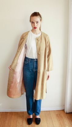 1950s Suede Duster Coat w/ Pink Satin Lining / Sz by ShopWeepahWay