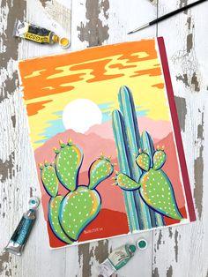 Wild Prickly Sunset Signed Art Print Boelter Design Co - Painting Posca Marker, Marker Art, Cute Canvas Paintings, Canvas Art, Painting Canvas, Art Indien, Posca Art, Arte Sketchbook, Aesthetic Painting