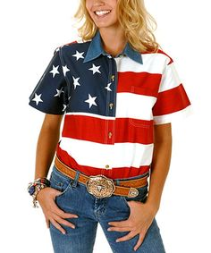 Roper Red American Flag Short-Sleeve Button-Up - Plus Too | zulily