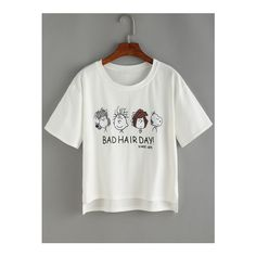 SheIn(sheinside) Cartoon Print High Low T-shirt ($9.99) ❤ liked on Polyvore featuring tops, t-shirts, white, white summer tops, white tees, white t shirt, comic book and comic t shirts