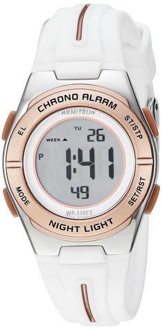 462756f65bb4 Armitron Sport Women s 45 7096WRG Rose Gold-Tone Accented Digital  Chronograph White Silicone Strap Watch