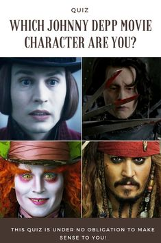 Which Johnny Depp movie character are you? - You adore everything Johnny Depp does. In your eyes, he executes every one of his characters with perfection! If you were one of Johnny's movie characters, which one would you be? Johnny Depp Willy Wonka, Johnny Depp Mad Hatter, Young Johnny Depp, Johnny Movie, Johnny Depp Movies, Johnny Depp Characters, Movie Characters, Johnny Depp Wallpaper, Fun Quizzes