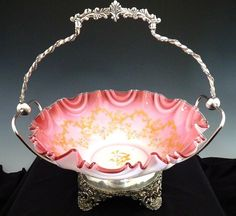 Victorian enameled brides bowl Poole silver stand