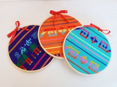 Items similar to Mexican Fabric Ornament - Hoop Art - Purple Turquoise Orange Wall Hanging - choose a colour - Nursery and Home Decor on Etsy Christmas Tree 2014, Mexico Christmas, Christmas On A Budget, Vintage Christmas, Christmas Crafts, Mexican Christmas Decorations, Mexican Home Decor, Mexican Crafts, Christmas Tree Themes