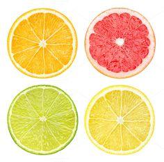Photo of four different slices of citrus fruits (orange, grapefruit, lime, lemon) isolated on one layer over transparent background. Watercolor Fruit, Fruit Painting, Fruits Drawing, Fruit Photography, Fruit Slice, Fruits Basket, Fruit Art, Food Illustrations, Art Plastique