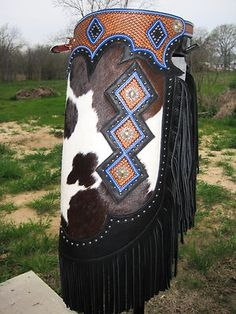 New Custom Western Hand Tooled Basket Weave Chinks Chaps Blue Dimonds.
