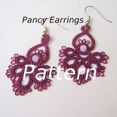 PDF Tatted Earrings Pancy Earrings by eannie on Etsy, Tatting Earrings, Tatting Jewelry, Tatting Lace, Soutache Jewelry, Macrame Jewelry, Crochet Earrings, Needle Tatting Tutorial, Body Adornment, Tatting Patterns