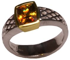 Autumn Fire: gold and silver sphene ring, $995