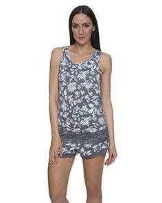 0075f1fd kathy ireland Women's Lace Trim Tank Top And Shorts Pajama Sleepwear Set in  Charcoal