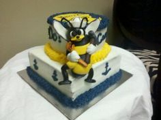 Navy SeaBee Cake so cute! Military Retirement, Military Life, Navy Quotes, Us Navy Seabees, Navy Cakes, Navy Ball, Navy Corpsman, Promotion Party, Go Navy