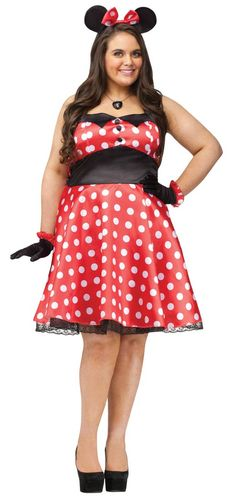 Retro Miss Mouse Plus Size Costume - Halloween Costumes