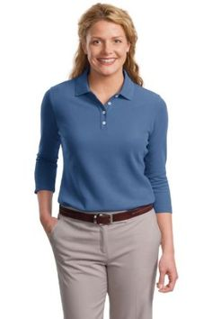 Port Authority Ladies EZCotton Pique 3/4-Sleeve Polo-XS (Moonlight Blue) Port Authority. $27.98