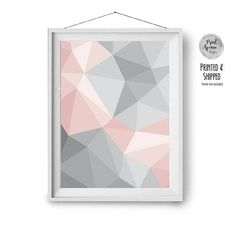Abstract geometric print in shades of grey and blush pink. IMPORTANT NOTES: - The frame is not included - Foil prints not available (printed using inks) - All pieces are professionally printed - The colors of the mailed print may be slightly different to what you see on the screen