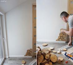 Plastry drewna na ścianie - jak to zrobić samodzielnie? Wooden Wall Design, Wooden Walls, Earthy Home Decor, Home Interior Design, Man Cave, Plaster, House, Handmade, Decorating Ideas