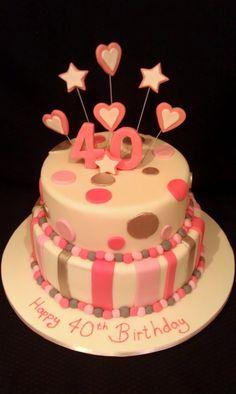 Two Tier fun hearts & Stars birthday cake