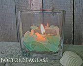 Sea Glass for DIY Wedding Crafts Blues Sea Foam Green Aqua Centerpiece Candle Jar Fill Wedding Decoration