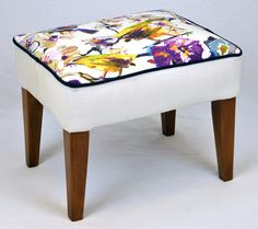 Reupholstered Footstool Stool Upcycled Shabby Chic Home & Garden