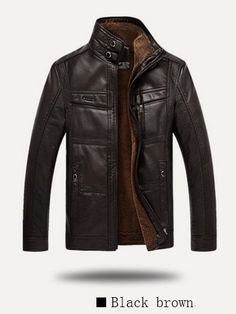 C38 2014 Autumn and winter pure color collar Men of high quality business casual jacket fashion to keep warm leather jacket