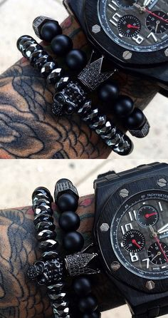 Great combo... skull bracelet + crown for skull bracelet + stealth watch on all black inkwork = cool 'Black Ops' look SkullyBloodrider.