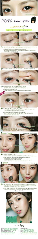 Bello maquillaje Coreano, instrucciones idioma Coreano.