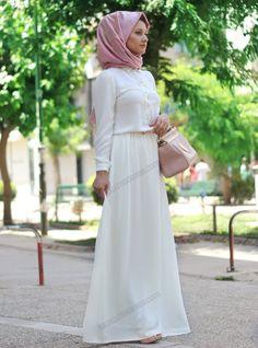 Dantel Detaylı Elbise 29 - Ekru - Minel Aşk