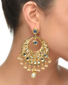 Round Kundan Earring with Blue Stone #Jewelry #Fashion #New #Stones #Studded #Ethnic #Indian #Traditional