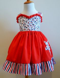 American+Sweetheart+4th+of+July+Dress+by+FunUpTownGirls+on+Etsy,