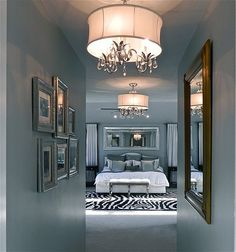 Love this bedroom - white, black, blue and silver.