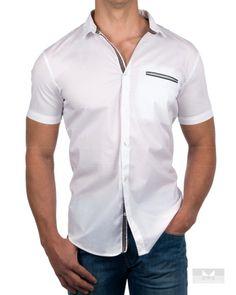 Camisas Armani - Manga corta - Blanco & Gris