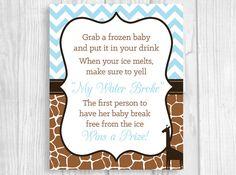 Printable 8x10 My Water Broke Baby Shower Game Boy's Baby Shower - Light Blue and Brown Giraffe Print