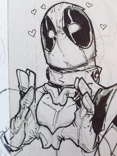 Deadpool sketch by Humberto Ramos Deadpool Tattoo, Deadpool Art, Deadpool And Spiderman, Comic Books Art, Book Art, Drawing Sketches, Art Drawings, Marvel Drawings, Comic Kunst