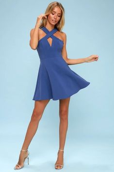 94c4eb0ff08 NORMA ROYAL BLUE SKATER DRESS Lulu s - XS  fashion  clothing  shoes   accessories