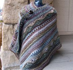 KNIT free pattern - Stitch Sampler Shawl by On This Day Designs -- would be easy to use this an an inspiration for a crochet shawl as well, love the blues.