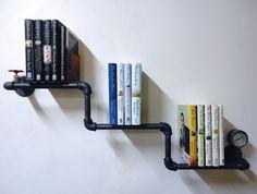 Industrial Pipe Bookshelf the Amigo with Pressure di Mobeedesigns