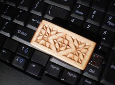 Triangle Diamond Chip Carved 8Gb Flash Drive by WoodenGoat on Etsy, $45.00