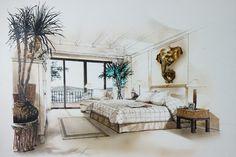 Чернилами и акварелью бесплатно эскиз руку интерьере спальни…